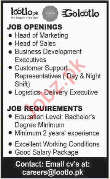 Golootlo Online Selling Company Jobs 2019 in Karachi