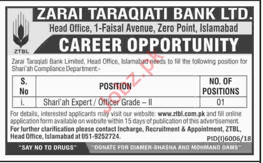 Zarai Tarakiati Bank Limited ZTBL Jobs 2019 in Islamabad