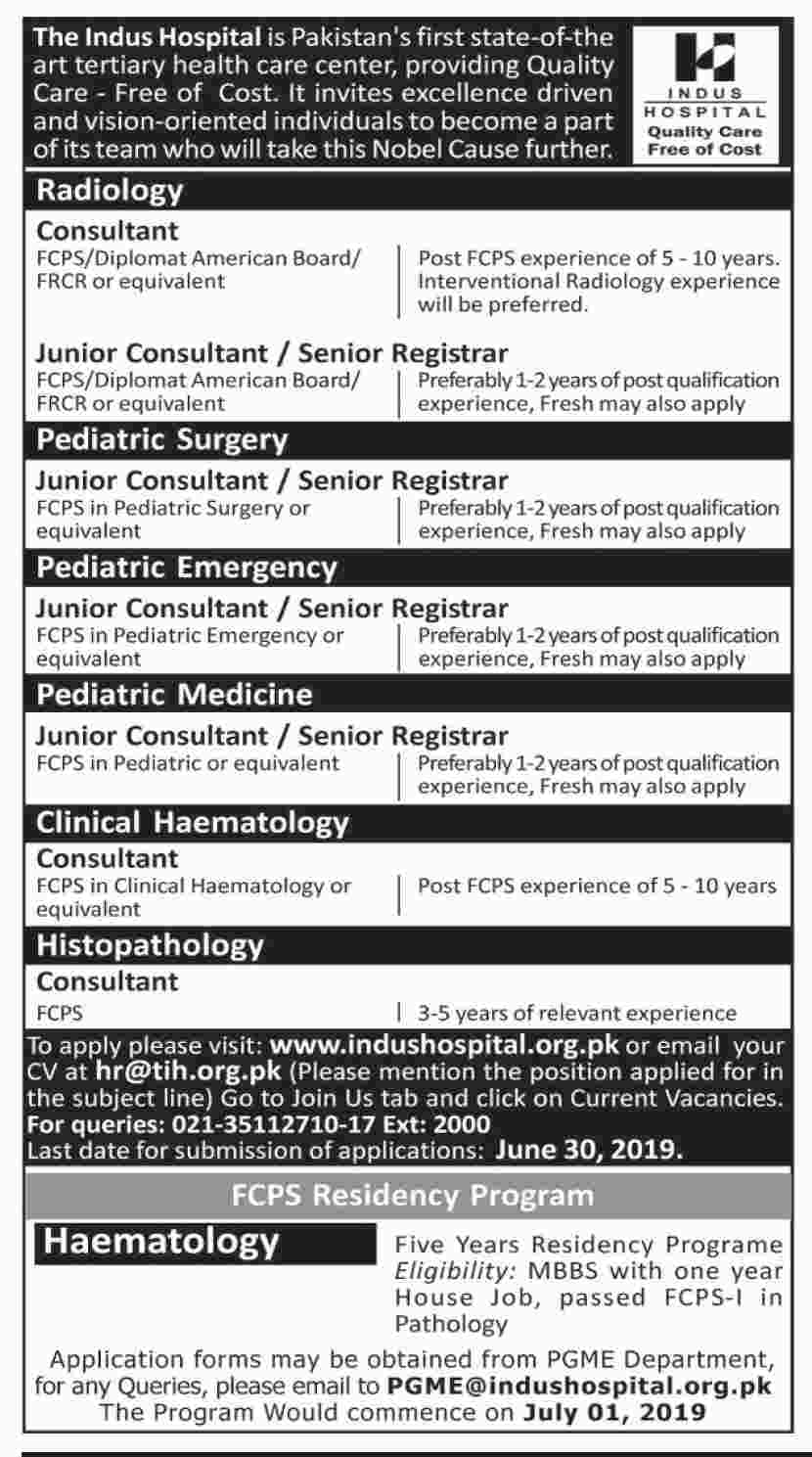 Indus Hospital Consultant Jobs 2019