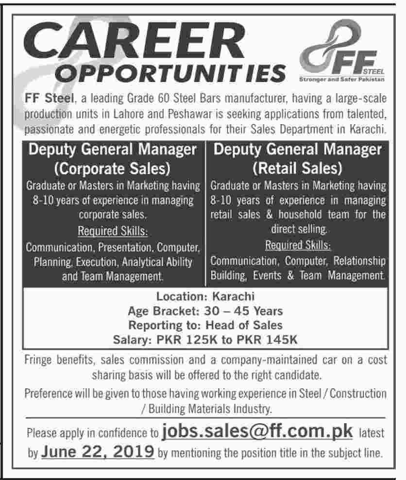 FF Steel Manufacturing Industry Jobs 2019