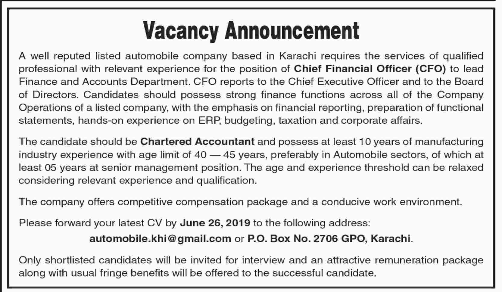 Chief Financial Officer Jobs 2019 in Karachi