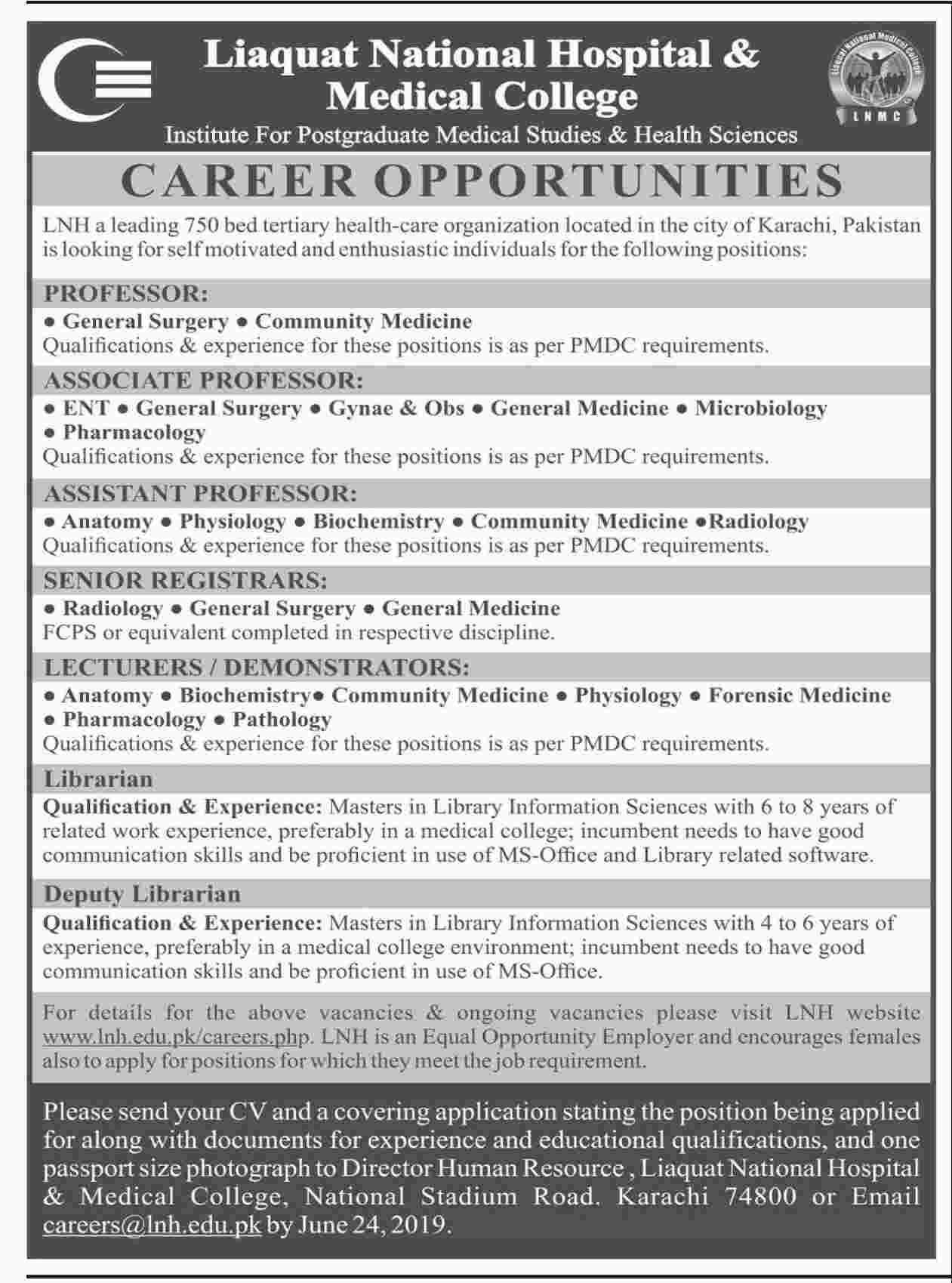 Liaquat National Hospital & Medical College Jobs 2019
