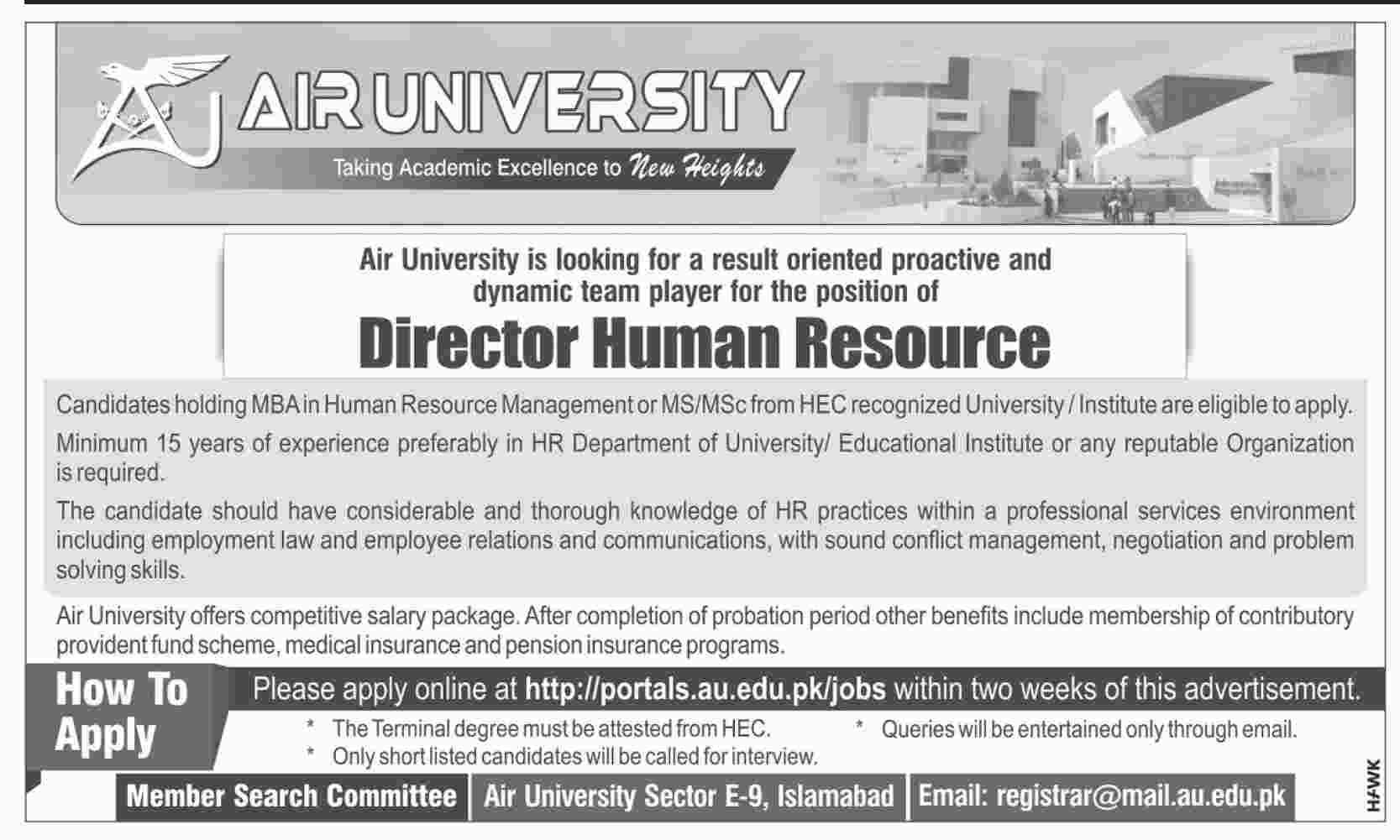 Air University Director Human Resource Jobs 2019