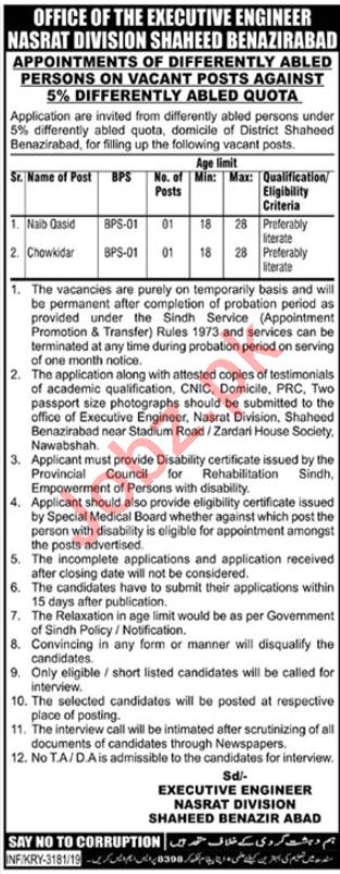 Nasrat Division Jobs 2019 in Shaheed Benazirabad