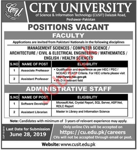 City University Teaching & Non Teaching Jobs in Peshawar KPK