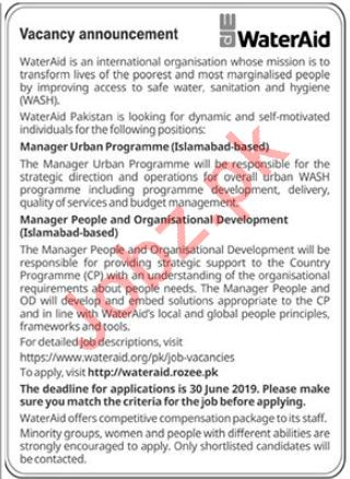 WaterAid NGO Jobs 2019 in Islamabad