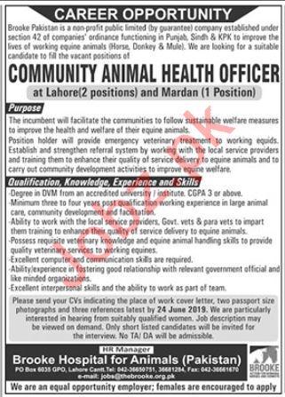 Community Animal Health Officer Jobs in Lahore & Mardan