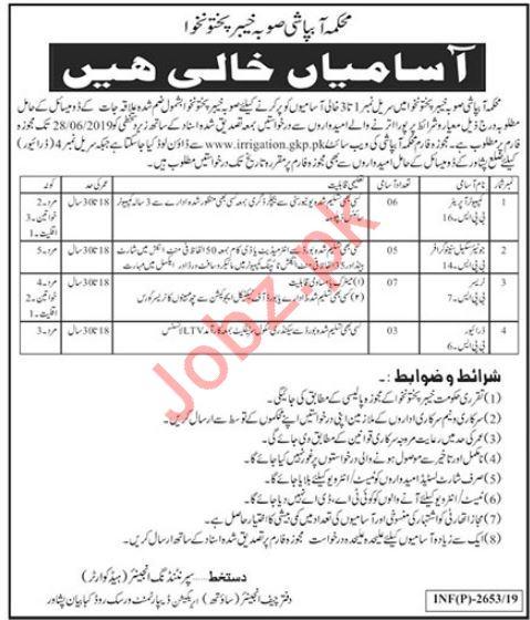 Irrigation Department Jobs 2019 in Peshawar KPK