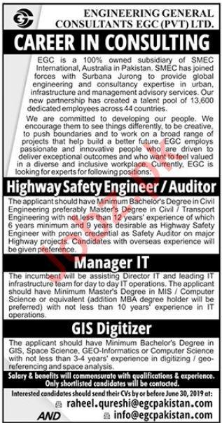 Engineering General Consultants EGC Pvt Ltd Jobs In Lahore