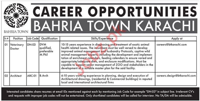 Bahria Town Pvt Limited Jobs 2019 in Karachi