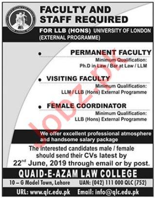 Quaid E Azam Law College Faculty & Non Faculty Jobs 2019