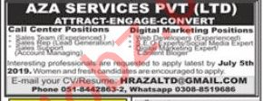 AZA Services Islamabad Jobs for Sales Team & Web Developer