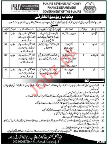 Punjab Revenue Authority Finance Department Jobs 2019
