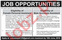 Personal Assistant & Accounts Assistant Jobs 2019