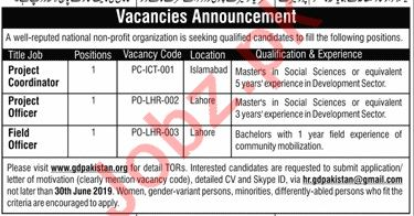 Project Coordinator & Project Officer NGO Jobs 2019