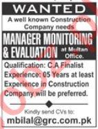 Monitoring & Evaluation Manager Jobs 2019 Job Advertisement