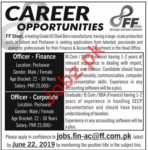 FF Steel Manufacturing Industry Jobs in Peshawar & Lahore