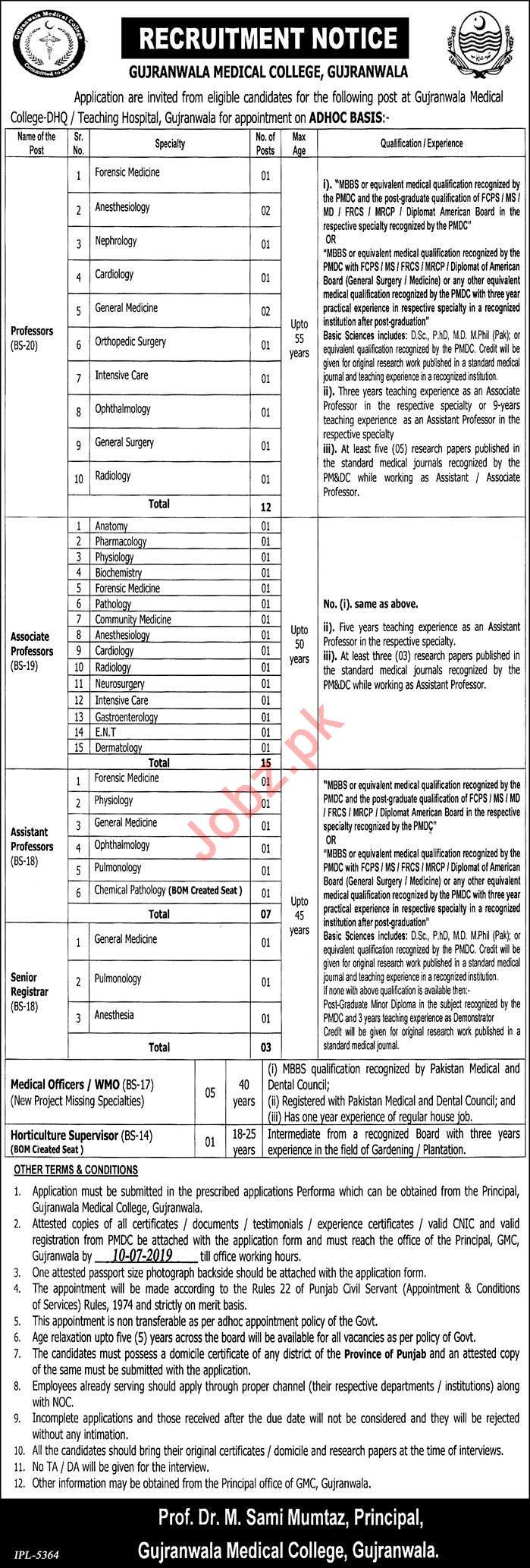 Gujranwala Medical College Jobs 2019