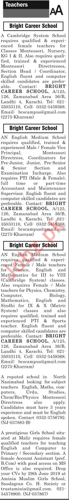 The News Sunday Classified Ads 16th June 2019 for Teachers