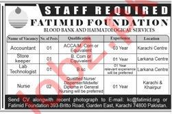 Fatimid Foundation blood Bank Jobs 2019