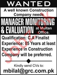 Monitoring Manager Evaluation Manager Jobs in Multan