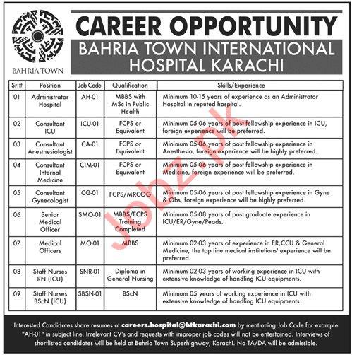 Bahria International Hospital Jobs 2019