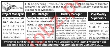 Elite Engineering Pvt Limited Jobs 2019 in Lahore