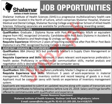 Shalamar Institute of Health Sciences SIHS Jobs For Lahore
