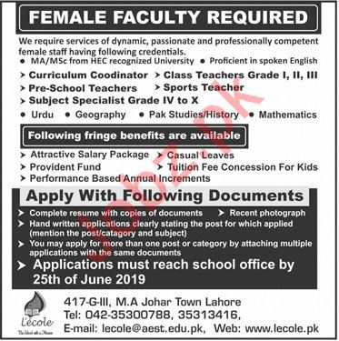 Lecole School Faculty Jobs 2019 in Lahore