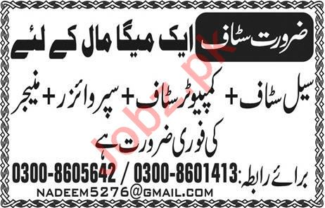 Sales Staff Computer Staff Supervisor Jobs in Lahore