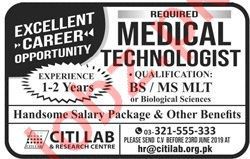 Medical Technologist Job 2019 in Lahore