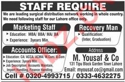Accounts Officer, Recovery Man & Marketing Jobs 2019