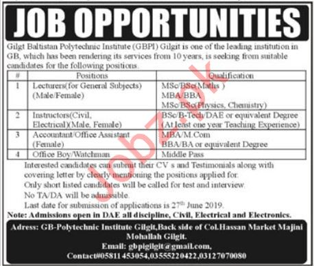 Gilgit Baltistan Polytechnic Institute GBPI Jobs in Gilgit