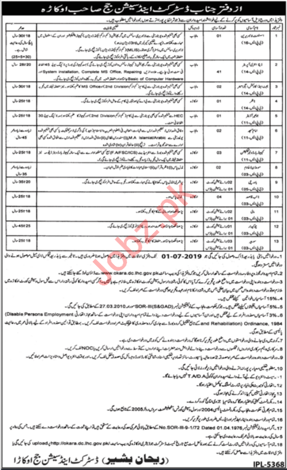 District & Session Court Okara Jobs 2019 for Data Entry