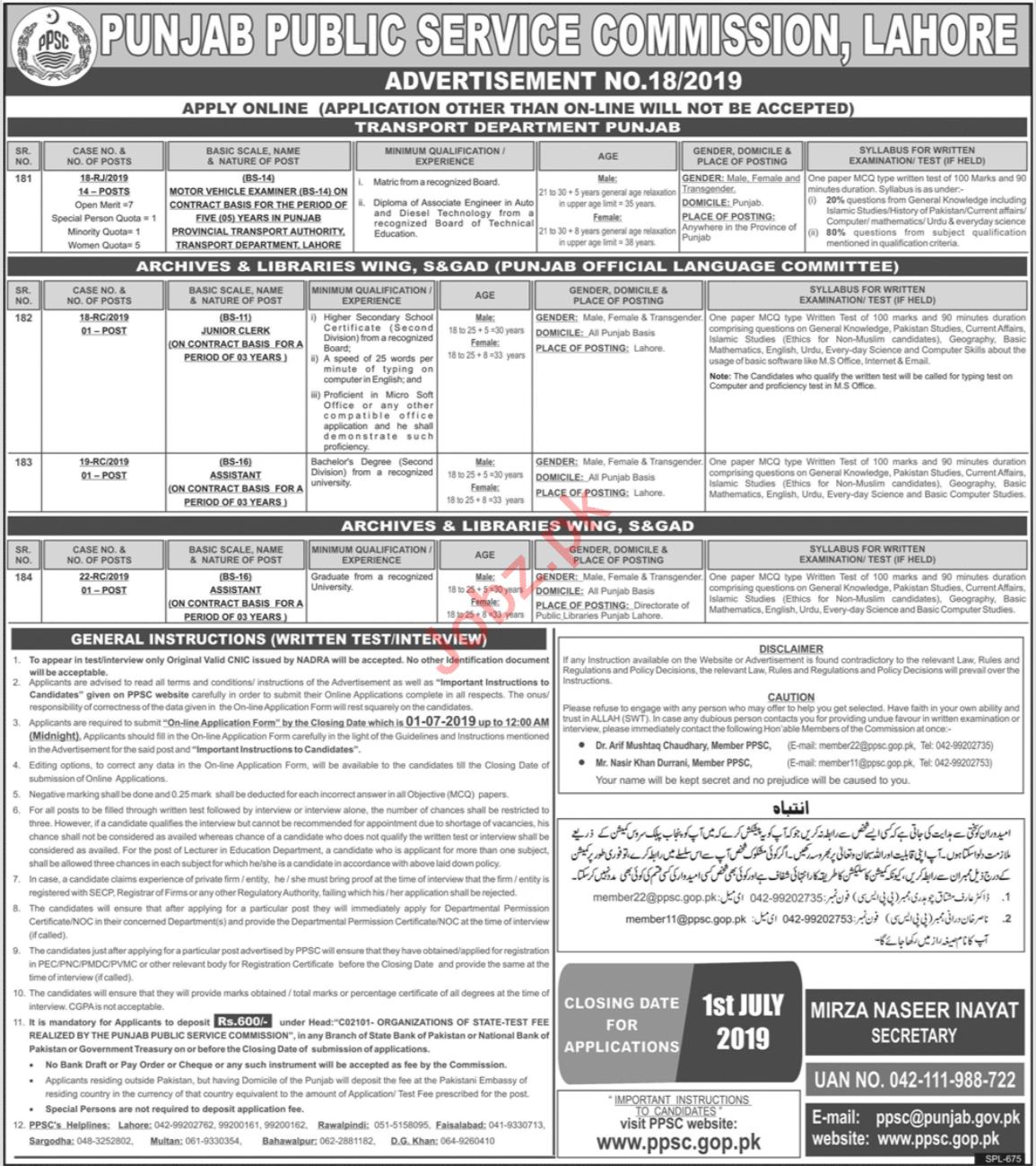 Punjab Public Service Commission PPSC Jobs July 2019
