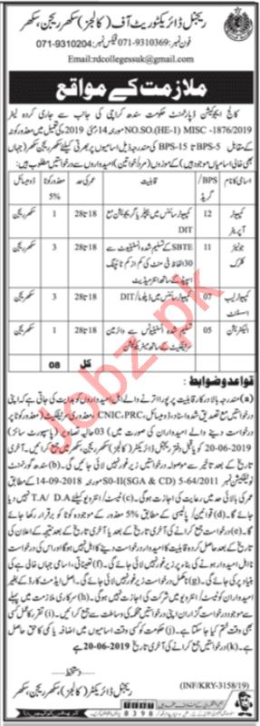 College Education Department Jobs 2019 in Sukkur