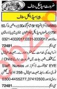 Khabrain Sunday Classified Ads 16th June 2019 Medical Staff