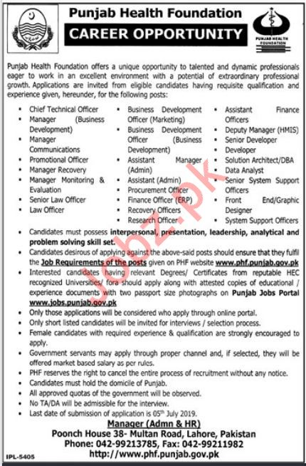 Punjab Health Foundation PHF Jobs 2019 in Lahore