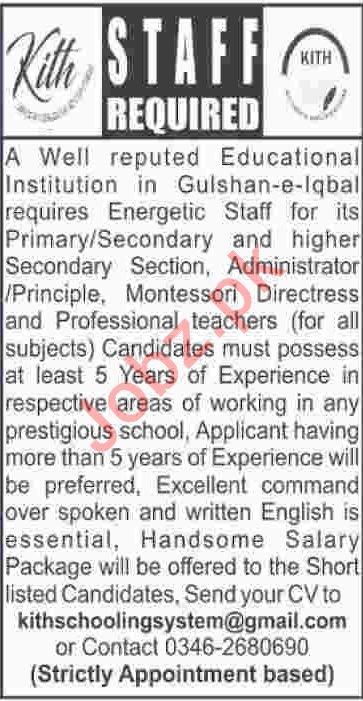 KITH Schooling System Karachi Jobs 2019 for Teachers