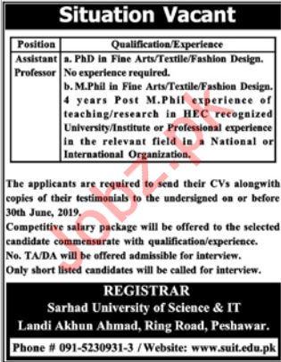 Sarhad University SUIT Peshawar Jobs 2019 for Professor