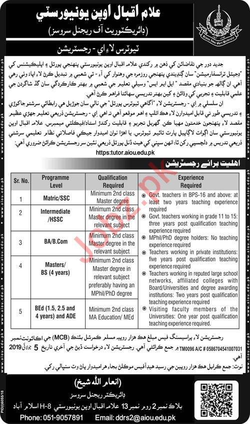 Allama Iqbal Open University AIOU Islamabad Jobs for Tutor 2019 Job
