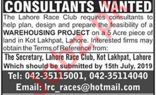 Lahore Race Club Job 2019 For Consultant