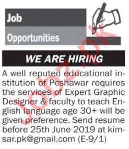 Graphic Designer & Teaching Jobs 2019 in Peshawar KPK