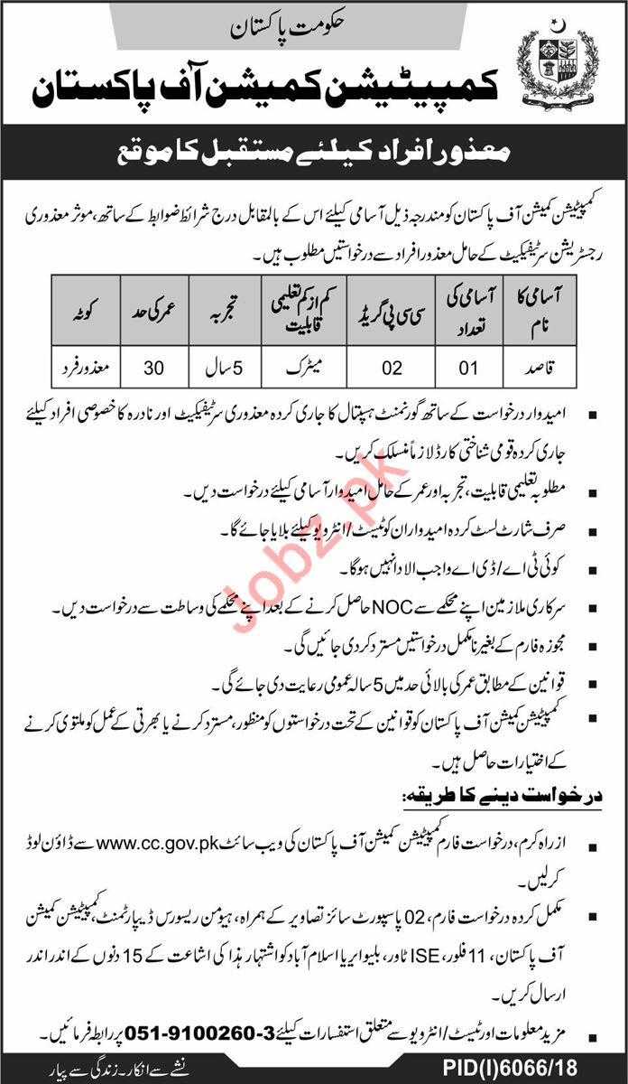 Competition Commission of Pakistan CCP Disabled Persons Jobs