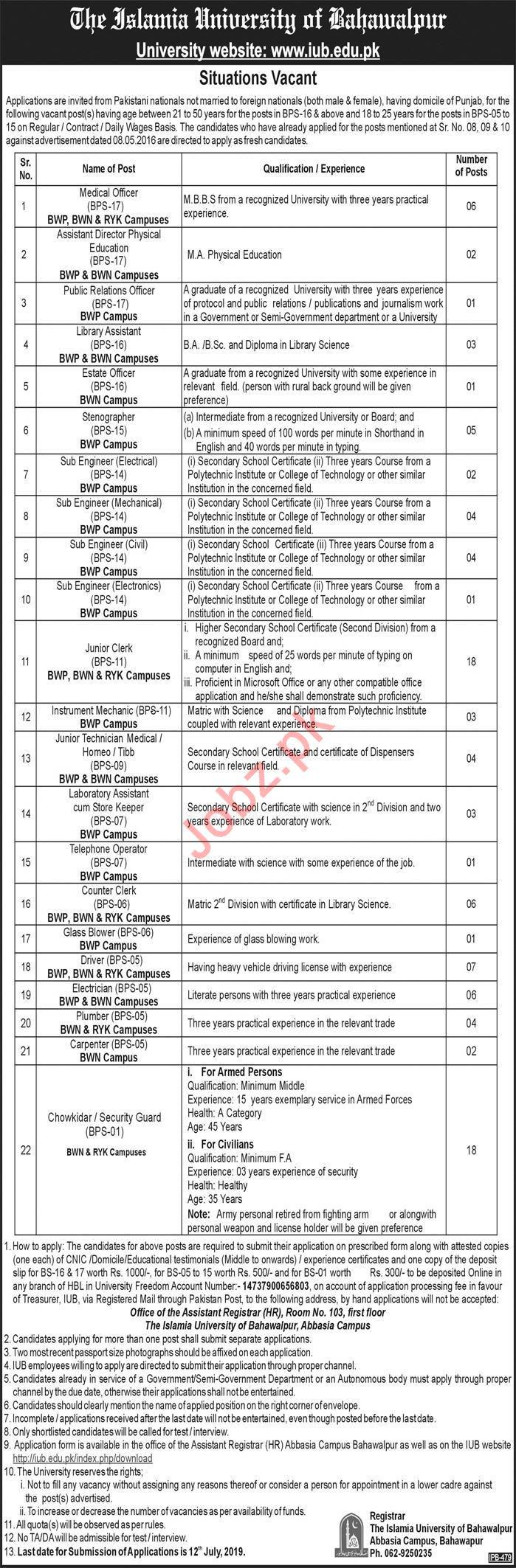 The Islamia University of Bahawalpur Jobs 2019