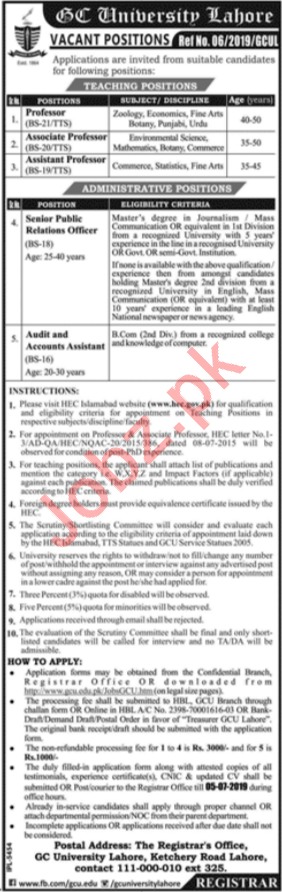 GC University Teaching & Administrative Staff Jobs in Lahore