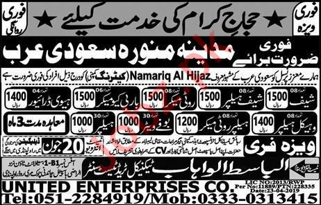 Namariq Al Hijaz Contracting Company Jobs in Saudi Arabia