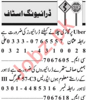 Driving Jobs 2019 For Lahore