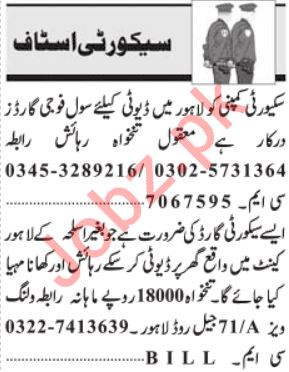 Security Staff Jobs 2019 For Lahore