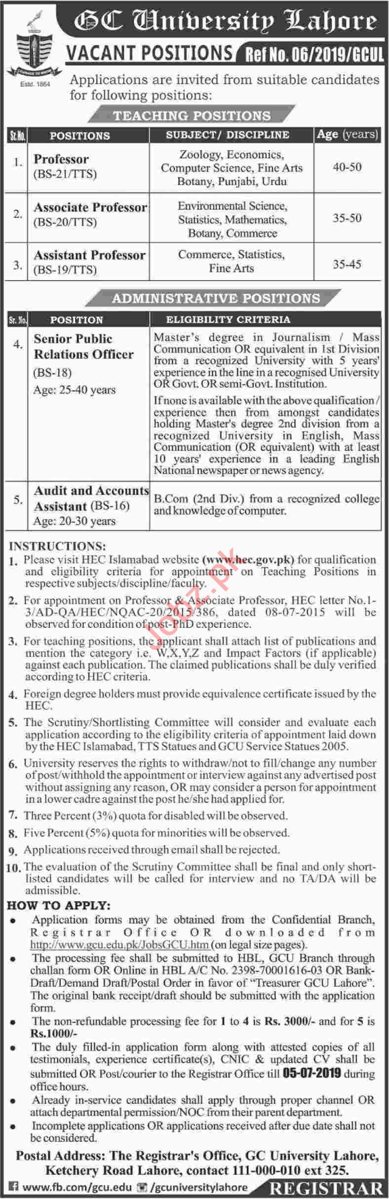 GC University Management Jobs 2019 in Lahore